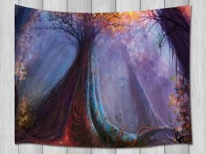 Purple Fog in Fantasy Forest Tapestry Wall Hanging Decor