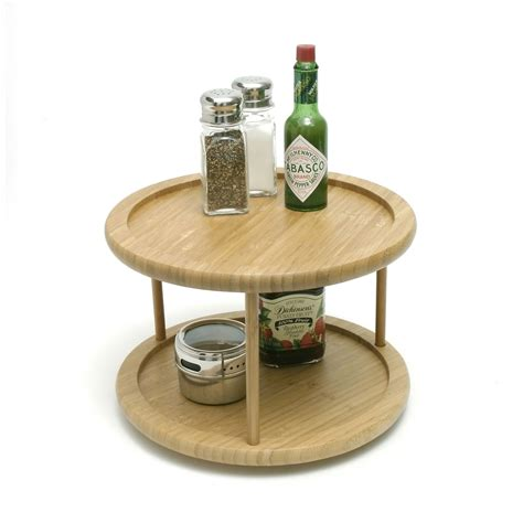 Lipper 10 Inch Bamboo Two Tiered Lazy Susan - Tabletop