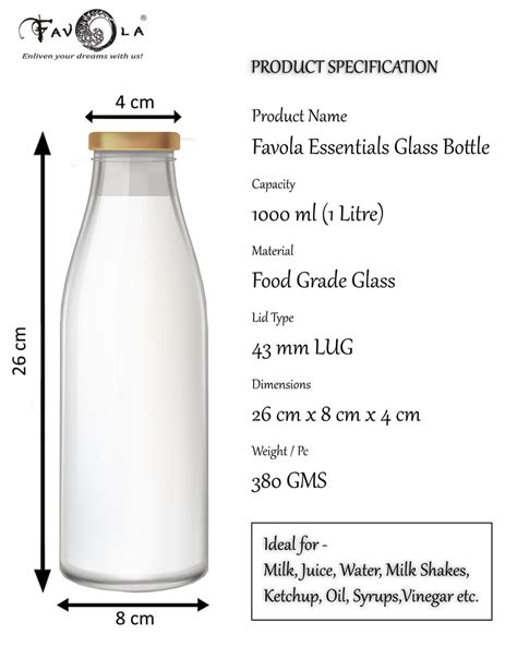 Favola Milk, Water and Juice Glass Bottle With Air Tight