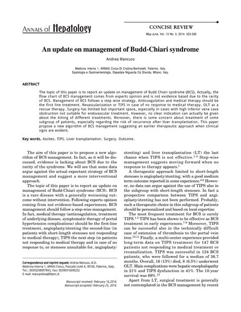 (PDF) An update on management of Budd-Chiari Syndrome