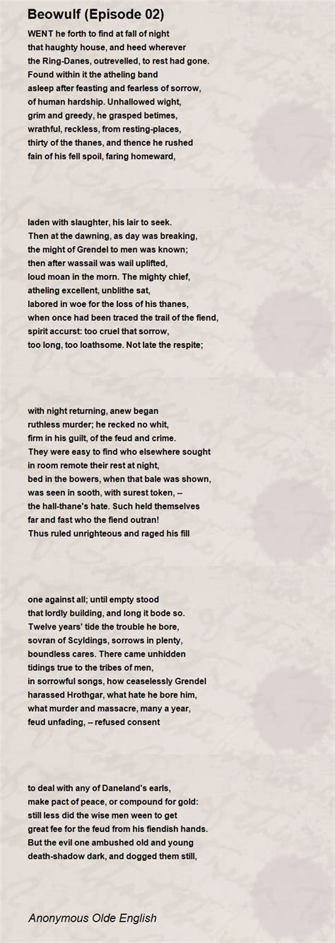 Beowulf (Episode 02) Poem by Anonymous Olde English - Poem