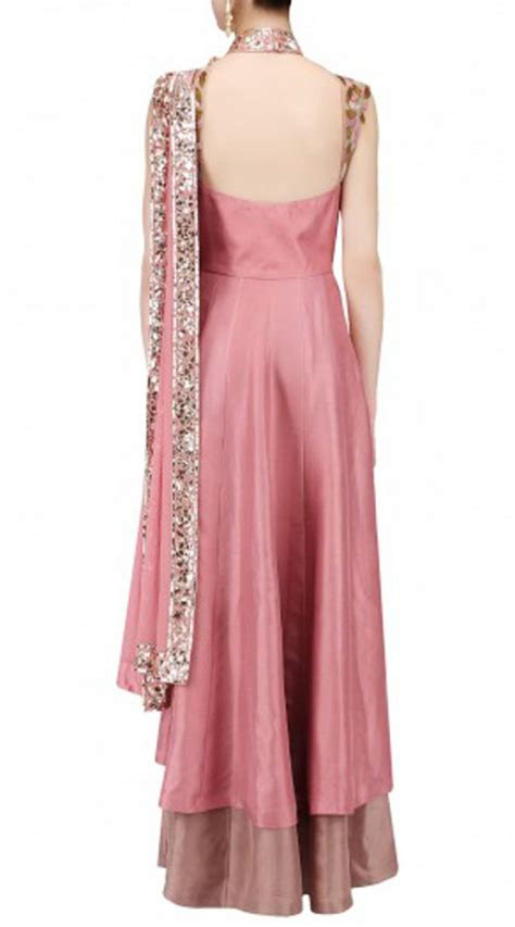 Party Wear Rosy Pink Crepe Palazzo Anarkali Suit BP0447
