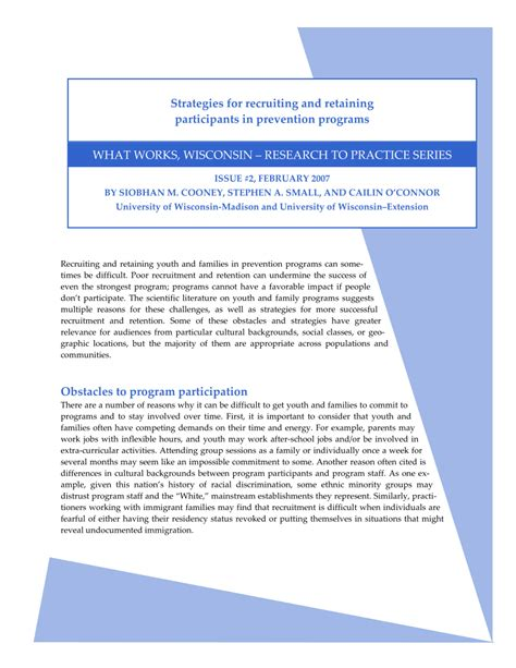 (PDF) Strategies for recruiting and retaining participants