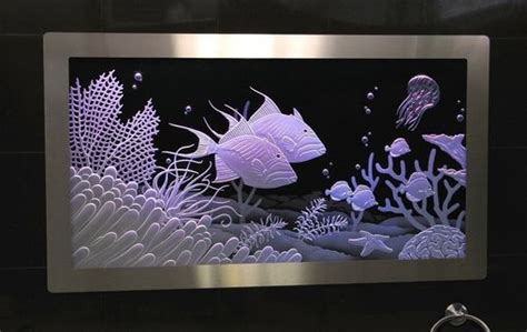 Custom Made Illuminated Carved / Etched Glass - Built In