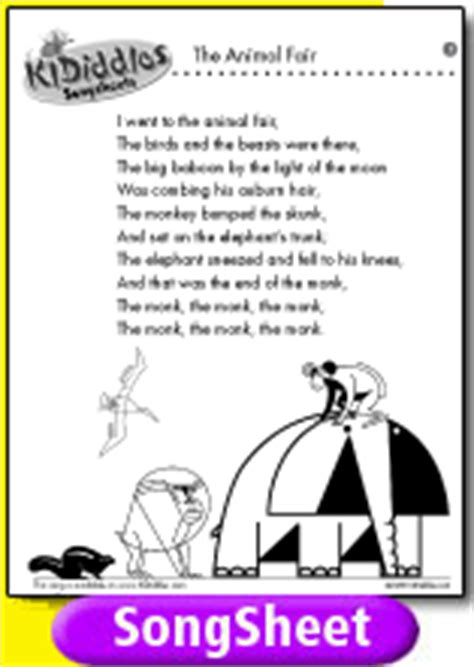 The Animal Fair song and lyrics from KIDiddles