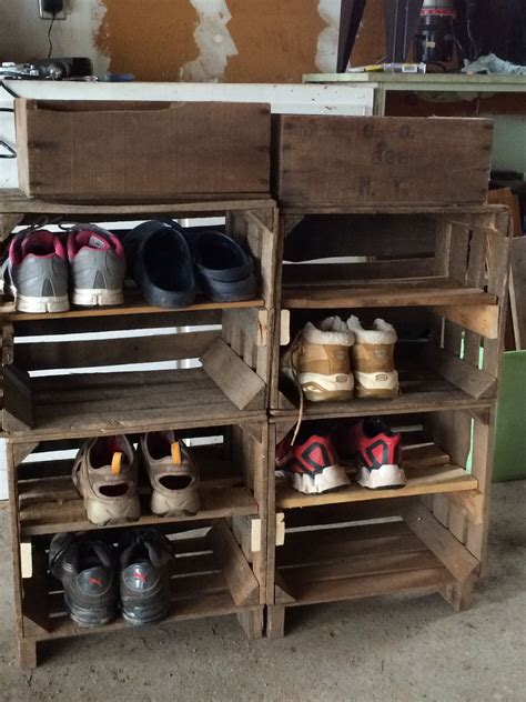 Shoe Rack made from apple crates and pallet wood   Apple