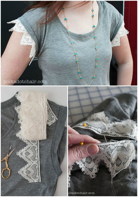 Fashion DIY ideas, How to add lace to t-shirt sleeves