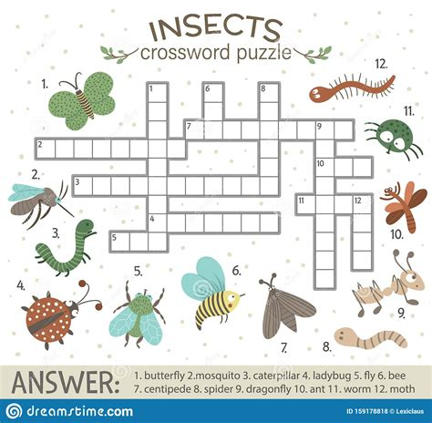 Vector Crossword Puzzle With Forest Insects