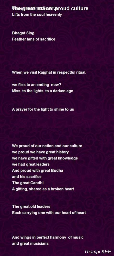 The Great Nation Proud Culture Poem by Thampi KEE - Poem