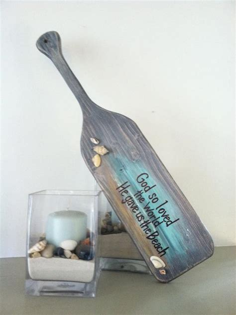 Wooden Paddle Oar Beach House Ocean Decor Sign Weathered